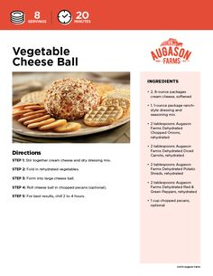Who knew Emergency Preparedness Food could taste this good? Give this cheeseball a try! Your kids really will love it! Emergency Preparedness Items, Diced Carrots, Cheese Ball Recipes, Seasoning Mixes, Recipe Using, Brother, Easy Meals, Dairy, Favorite Recipes