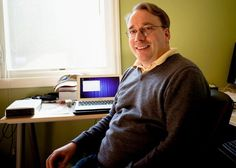 Linus Torvalds & his Mac.  The 1st Linux I tried was 5.1