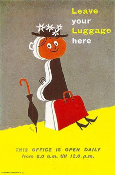 """Leave your Luggage here"" - left luggage office poster for the Tilling Group of Omnibus Companies by Harry Stevens MSIA, c1958 by mikeyashworth, via Flickr"