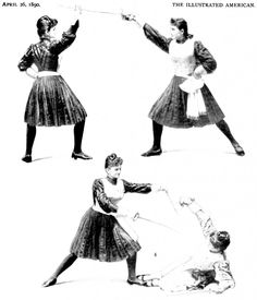 Instruction for women fencers, 1890 Looks maybe like the Hartl school in Vienna - studded vest, pleated skirt, two-weapon style (lower image maybe imitating the Koppay engraving)