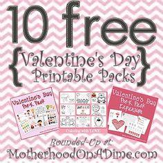 10 FREE Valentine's Day Printable Packs for Kids