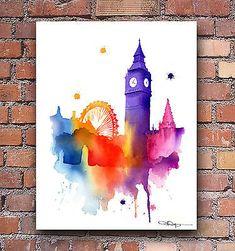 London England Art Print Abstract Watercolor Painting City Wall Decor
