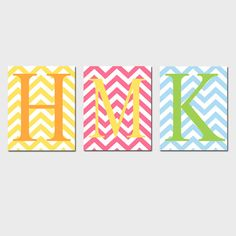 love these...would look great as decor pieces on a wall with a different but similar pattern around the canvas. And would be so easy to make with cute chevron fabric or chevron stencils and paint and letter stencils to paint the initials.