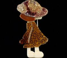 LEA STEIN CHOCOLATE SPARKLE POULBOT GIRL KID HAT BROOCH PIN FRENCH RESIN PARIS