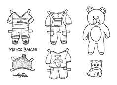Karen`s Paper Dolls: Marc 1-3 Paper Doll to Colour. Marc 1-3 påklædningsdukke til at farvelægge.