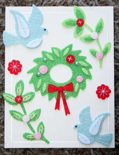Dove and Wreath Felt Christmas Blank Card by GIFToLOTY on Etsy, $4.50