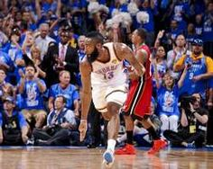 James Harden #13 of the Oklahoma City Thunder celebrates after making a three-pointer against the Miami Heat during Game 1 of the NBA Finals, #OKCThunder #NBAFinals http://www.fansedge.com/James-Harden-Oklahoma-City-Thunder-NBA-Finals-Game-1-6122012-_1551926860_PD.html?social=pinterest_pfid77-20061