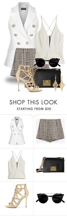 """""""Shorts + Vest 1348"""" by boxthoughts ❤ liked on Polyvore featuring Balmain, Zara, Mason's, Sergio Rossi and Annie Fensterstock"""