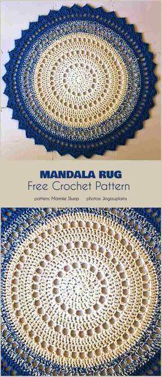 25 Ideas For Crochet Mandala Rug Pattern Mandala Rug, Crochet Mandala Pattern, Crochet Circles, Crochet Round, Crochet Doilies, Crochet Summer, Crochet Rug Patterns, Crochet Stitches, Knit Crochet