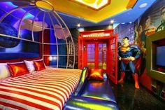 Superhero bedroom ideas - Superhero themed bedrooms - Superhero room decor - superhero bedroom decorating ideas - Superheroes bedroom ideas - Decorating ideas Avengers rooms - superhero wall murals - Comic Book bedding - marvel bedroom ideas - Superhero B Bedroom Themes, Kids Bedroom, Bedroom Decor, Bedroom Stuff, Girl Bedrooms, 8 Year Old Boys Bedroom Ideas, Geek Bedroom, Bedroom Images, Bedroom Styles