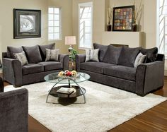 The Elizabeth Charcoal sofa and loveseat is comfortable and stylish. Love my new sofa set!