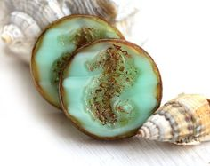 Seahorse czech beads - Mint Green Picasso - glass beads, round, flat, beach, rustic - 23mm - 2Pc - 1567