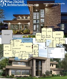 Architectural Designs Luxury Contemporary House Plan 23624JD comes to life! Lots of photos of this 5,600+ square foot home on our site. Ready when you are. Where do YOU want to build?