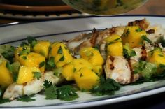 Grilled fish with mango salsa   pair this fish dish with a baked sweet potato for a quick and easy post-workout meal.  Serves 4  Ingredients for the salsa:  •1 lime •1 mango, peeled and diced  •1⁄2 jalapeno pepper, seeded and minced •1 tablespoon chopped cilantro  For the fish:  •1 lemon, zested and juiced  •1 pound firm, white-fleshed fish fillets     Per Serving: 122.4 calories, 1.7 g total fat, 55 mg cholesterol, 91.2 mg sodium, 8.9 g total carbs, 1.3 g dietary fiber, 21.4 g protein