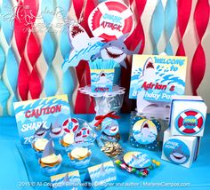 Shark Party Package - Party Supplies | Printable Party Supplies | Shop Party Supplies online | Artículos para Fiestas | by MarleneCampos.com