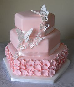 Blush Pink Butterfly Wedding Cake by Sugar Ruffles, via Flickr