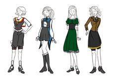 First one's meant for Gryffindors, second for Ravenclaws, third for Slytherins and last for Hufflepuffs. I'd love to hear your opinions on it. I've traced some Sailor Moon paper doll...