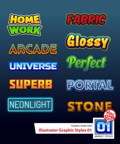 Illustrator Graphic Styles 01 by mikailain on DeviantArt Letras Abcd, Letter Art, Letters, Inverter Generator, Typo Design, Make Your Own Logo, Game Concept Art, Label Templates, Text Effects