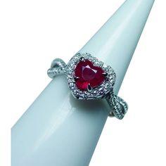 Vintage 18K White Gold Ruby Heart Diamond Halo Ring Estate www.rubylane.com #vintagebeginshere