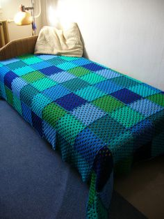 Green-Blue Squares Crochet Afghan by babukatorium, via Flickr