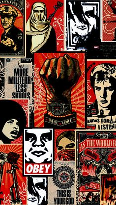 Obey Montage - Shepard Fairey Obey Psychedelic Hippie Peace Art Poster ~ ☮~ღ~*~*✿⊱ レ o √ 乇 ! ~ Shepard Fairey is a street artist who originally became known for his Andre the Giant posters in many cities across the USA. Obey Wallpaper, Cute Wallpaper Backgrounds, Iphone Wallpaper, Hipster Wallpaper, Wallpaper Pictures, Phone Backgrounds, Wallpapers, Graffiti Art, Art Obey