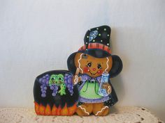 HP Gingerbread Halloween witch and frog SHELF SITTER hand painted USA