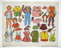 LAMINA RECORTABLES MUÑECAS MODELO KATI AÑOS 50 (Coleccionismo - Recortables - Muñecas) Female Names, Vintage Paper Dolls, Birthday Dresses, Playing Dress Up, Disney Characters, Fictional Characters, Childhood, Paper Crafts, Japan