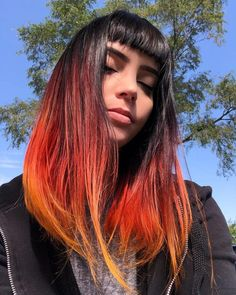 Red Hot Ombre - 60 Best Ombre Hair Color Ideas for Blond, Brown, Red and Black Hair - The Trending Hairstyle Hair Color Dark, Cool Hair Color, Fire Hair Color, Fire Ombre Hair, Vivid Hair Color, Hairstyles With Bangs, Cool Hairstyles, Hairstyles Pictures, Ponytail Hairstyles