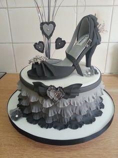 Grey Ruffle Shoe cake