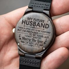 Watch For Men - Great Gifts For Dad Engraving Wooden Watch - Perfect Gifts For Your Dad Surprise Gifts For Him, Bday Gifts For Him, Gifts For Fiance, Great Gifts For Dad, Perfect Gift For Dad, Love Gifts, Dad Gifts, Christmas Presents For Husband, Valentines Day Gifts For Him Marriage