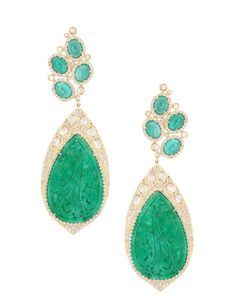 Sutra Jewels 18k Emerald Jade and Diamond Earrings