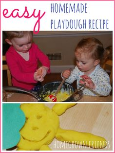 easy homemade playdough recipe from Homegrown Friends.  I have used this recipe for over 30 years!