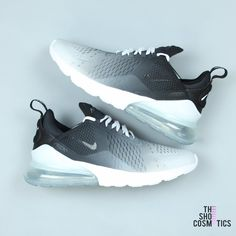 Explore Our Nike Air Max Black And White 270 Custom Sneakers. If You Are Looking For Black Air Max Sneakers, These Custom Nike Air Max Black And White Are Perfect For You! The mix of the stylish and comfy Nike sneaker plus our hand painted, ombre des Dr Shoes, Cute Nike Shoes, Cute Sneakers, Nike Air Shoes, Hype Shoes, Sneakers Nike, Sneakers Design, Nike Socks, Sneakers Women