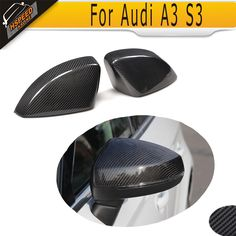 83.00$  Buy now - http://aliof6.worldwells.pw/go.php?t=32574439574 - S3 carbon fiber Replace styling side mirror covers fender trim for Audi A3 S3 RS3 8V 2014 2015 2016 83.00$