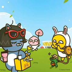 Rainbow Wallpaper, Iphone Wallpaper, Kakao Friends, Cartoon Painting, Line Friends, Kawaii Drawings, Cute Characters, Cute Illustration, Box Art