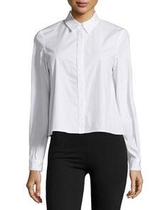 ZAC Zac Posen Fabia Button-Front Blouse, White New offer @@@ Price :$375 Price Sale $347