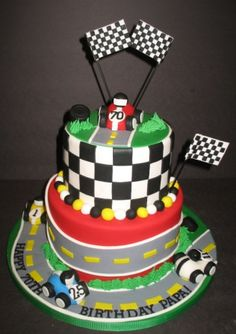race car cakes for kids | Race cars zipping around the track for a 70th birthday. Each car ...