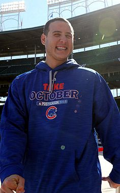 here we have Anthony Rizzo's smile spreading sunshine around Wrigley Field, and Jake Arrieta eyeing his breakfast sandwich like he's going to annihilate it Chicago Cubs Baseball, Baseball Boys, Cub Sport, Bear Cubs, Bears, Mens Clothing Styles, Men's Clothing, Cubs Win, Go Cubs Go