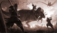 T-Rex vs Samurai by `arvalis on deviantART // it honestly does not get more badass than this.