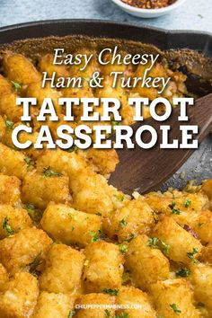 This spicy casserole is great for holiday leftovers of ham and turkey. Great for parties or Easter brunch. This easy recipe is only 10 minutes prep, then baked in the oven. Cheesy Tater Tot Casserole, Ham Casserole, Casserole Recipes, Spicy Chicken Recipes, Cajun Recipes, Pork Recipes, Roasted Ham, Oven Roasted Turkey, Best Casseroles