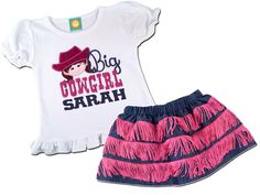 Girl's Cowgirl Outfit with 'Big Cowgirl' Western Shirt and Linen Denim and Pink Fringe Skirt by SunbeamRoad