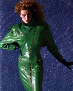 North Beach Leather, Elle magazine, September 1986. Photograph by Victor Skrebneski.