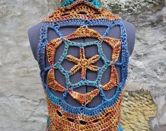 Crotchet, Knit Crochet, Crochet Vests, Crochet Designs, Crochet Patterns, Bohemian Style, Boho, Festival Tops, Crochet Mandala