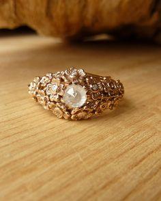 Bague florale en diamant or rose