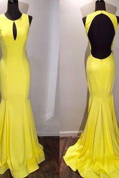 Open back prom dress, ball gown,  elegant yellow chiffon mermaid prom dress