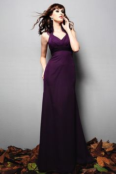 Empire Halter Floor-length Chiffon Bridesmaid / Wedding Party Dress