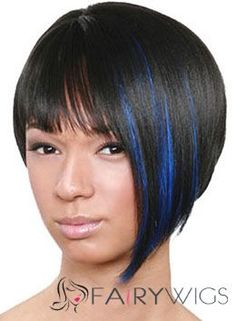 European Style Short Straight Black Full Bang African American Wigs ...