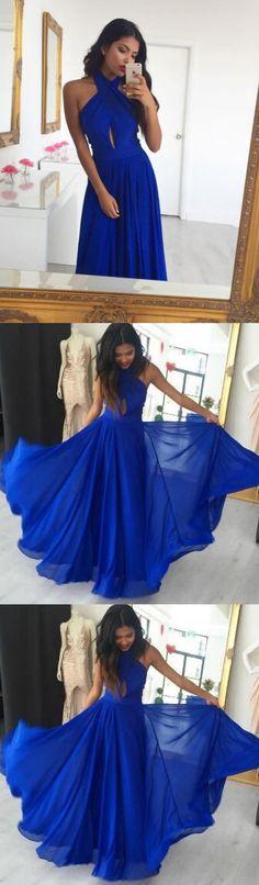 Sexy Sleeveless Prom Dress, Royal Blue Tulle Prom Dresses, Long Evening Dress M2116
