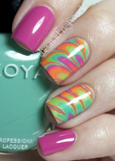 Amazing Water Marble from The Nail Network using colors from the Zoya Beach Collection!
