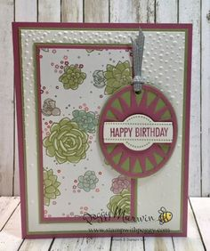 I love the spring color combination on this Birthday card, which uses Succulent Garden designer paper and the Timeless Tags Thinlits.  StampwithPeggy.com